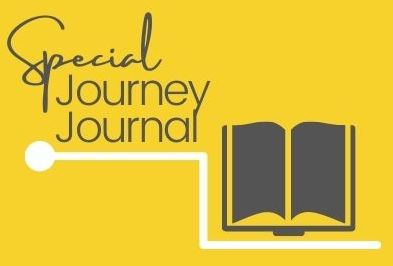 Grey writing 'Special Journey Journal with a white line underneath and grey open book